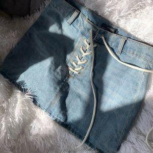 Lace Up Denim Mini Skirt